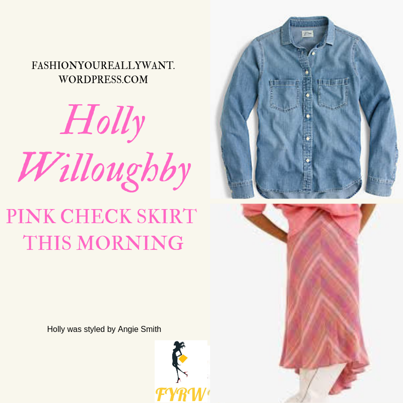 Where to get Holly Willoughby This Morning outfit today pink check skirt denim chambray shirt nude suede court shoes blog March 2019