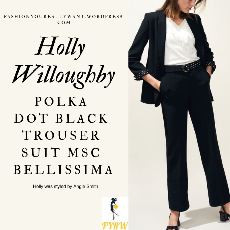 where to get Holly Willoughby black and white polka dot lined jacket and polka dot strapless gown MSC Bellissima March 2019