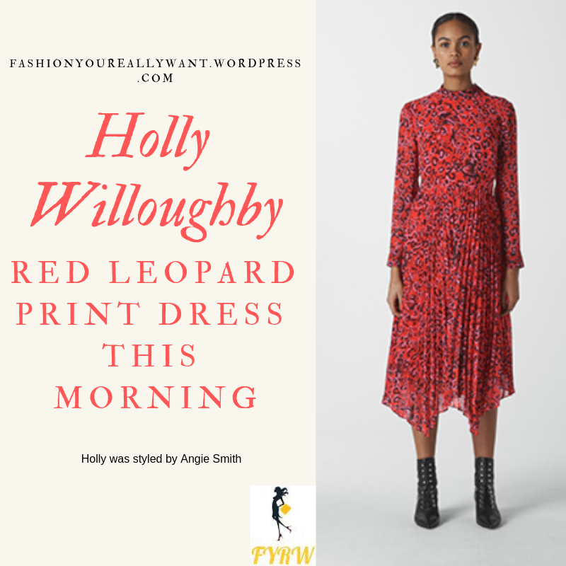 Where to get Holly Willoughby  This Morning outfit today Red Leopard Print Dress nude suede court shoes blog March 2019