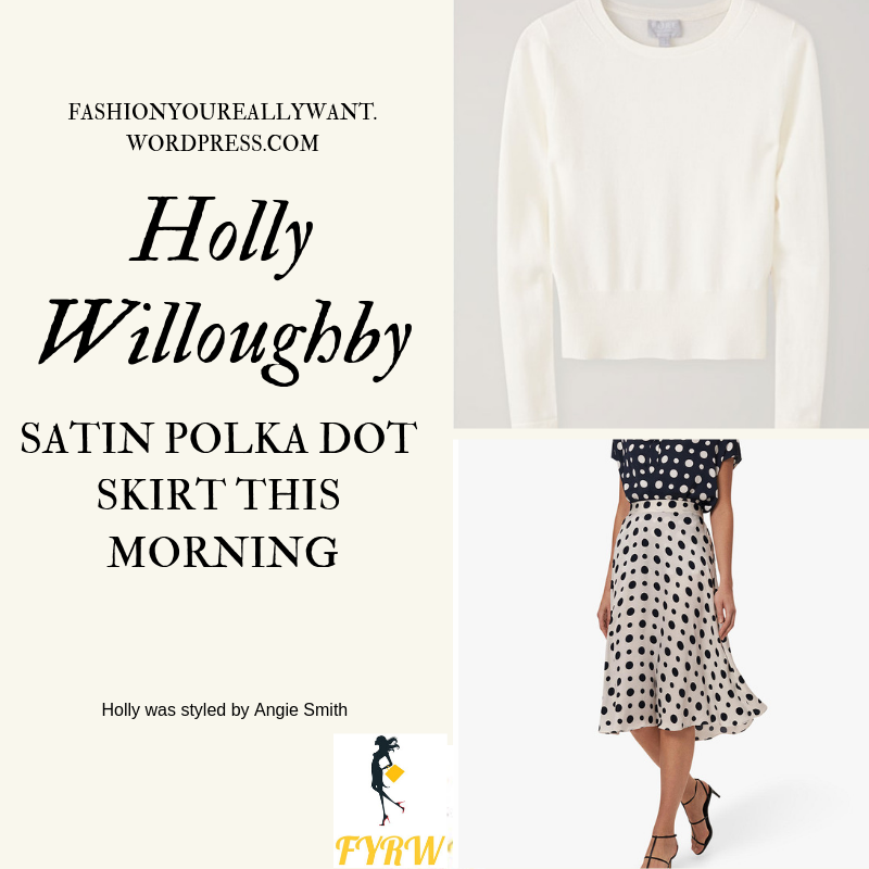 Where to get Holly Willoughby This Morning outfit today white satin polka dot skirt ivory knitwear nude suede court shoes blog March 2019