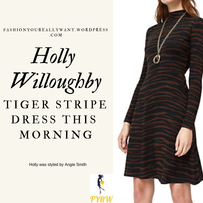 Where to Get Holly Willoughby  This Morning outfit today black and brown animal tiger stripe dress black ankle boots blog March 2019