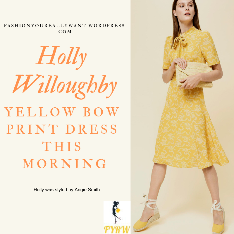 Where to get Holly Willoughby This Morning outfit today Yellow Bow Print Dress nude court shoes blog March 2019