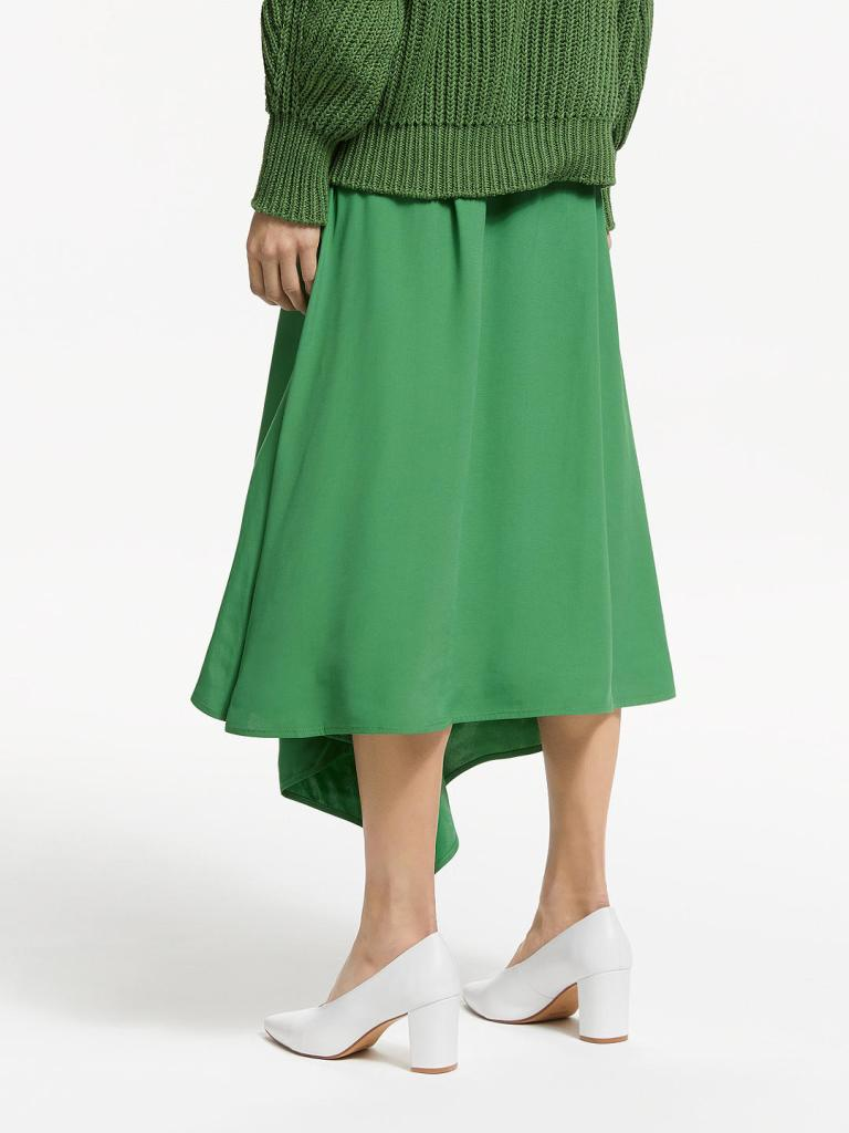 John Lewis & Partners Asymmetric Fold Midi Skirt back view