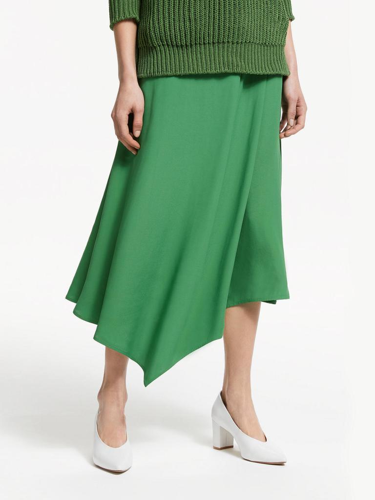 John Lewis & Partners Asymmetric Fold Midi Skirt