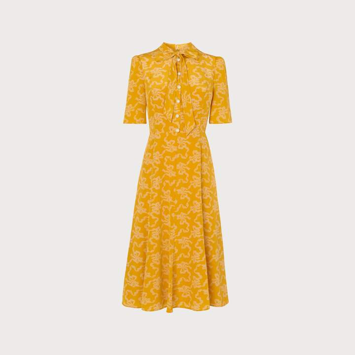 LK Bennett Montague Yellow Bow Print Silk Tea Dress