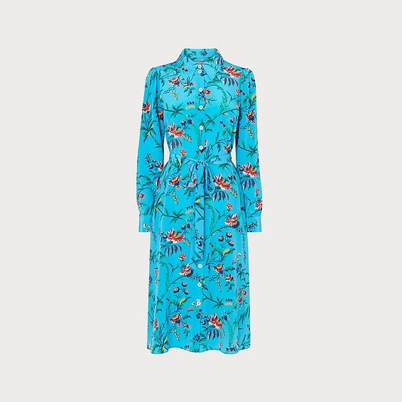 LK Bennett Runa Blue Silk Dress