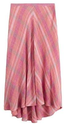 Mango Checkered asymmetric skirt