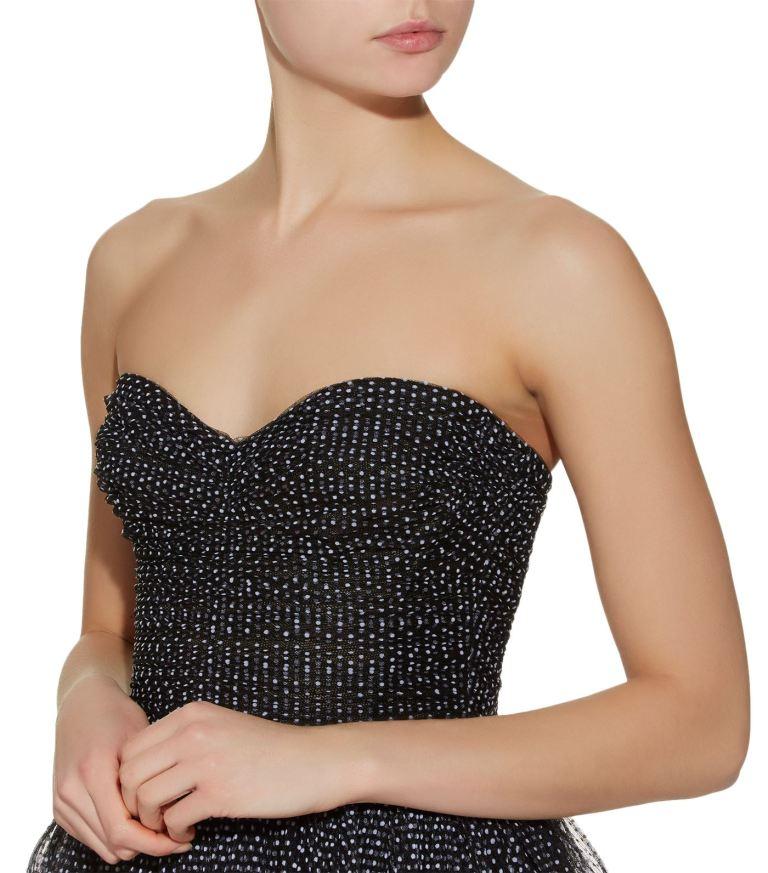 Monique Lhuillier Strapless Tulle Polka Dot Gown v2