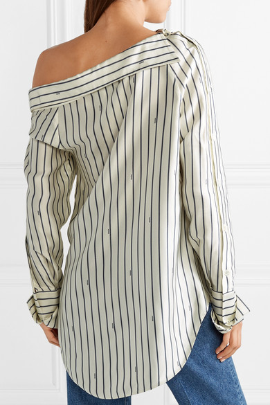 Monse - Oversized One-shoulder Pinstriped Satin Shirt - Ivory back view