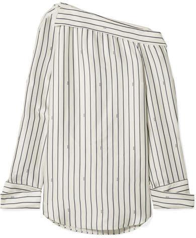 Monse - Oversized One-shoulder Pinstriped Satin Shirt - Ivory