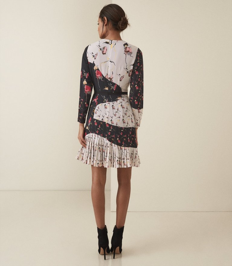 Reiss Mara - Bold Floral Printed Dress in Black white back view