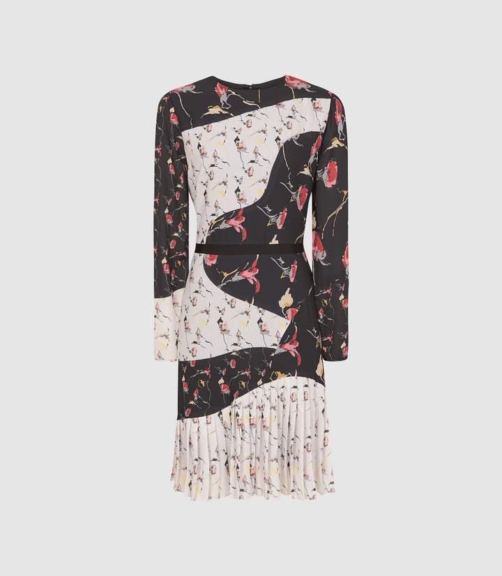 Reiss Mara - Bold Floral Printed Dress in Black white