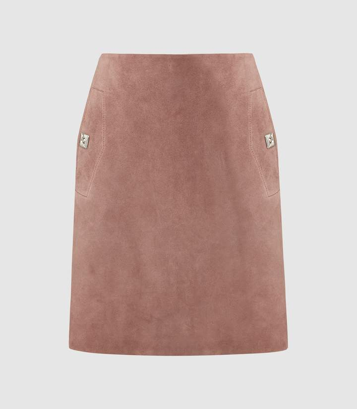 Reiss Pippa - Pocket Detail Suede Mini Skirt in Dusky Pink