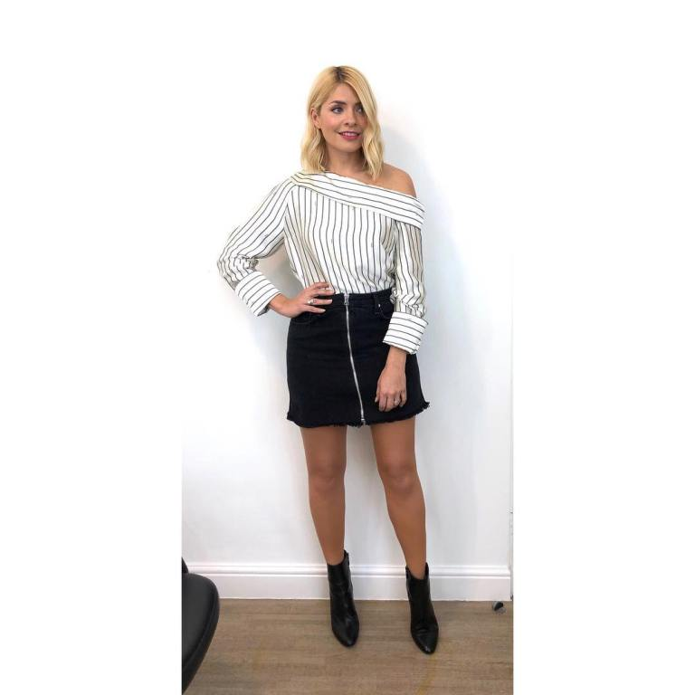 where to get Holly Willoughby Celebrity Juice outfit striped one shoulder top black zip denim skirt black ankle boots MArch 2019 photo Holly Willoughby