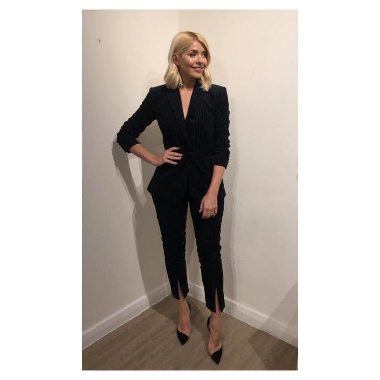 where to get Holly Willoughby Celebrity Juice outfit today black trouser suit black court shoes March 2019 photo Holly Willoughby