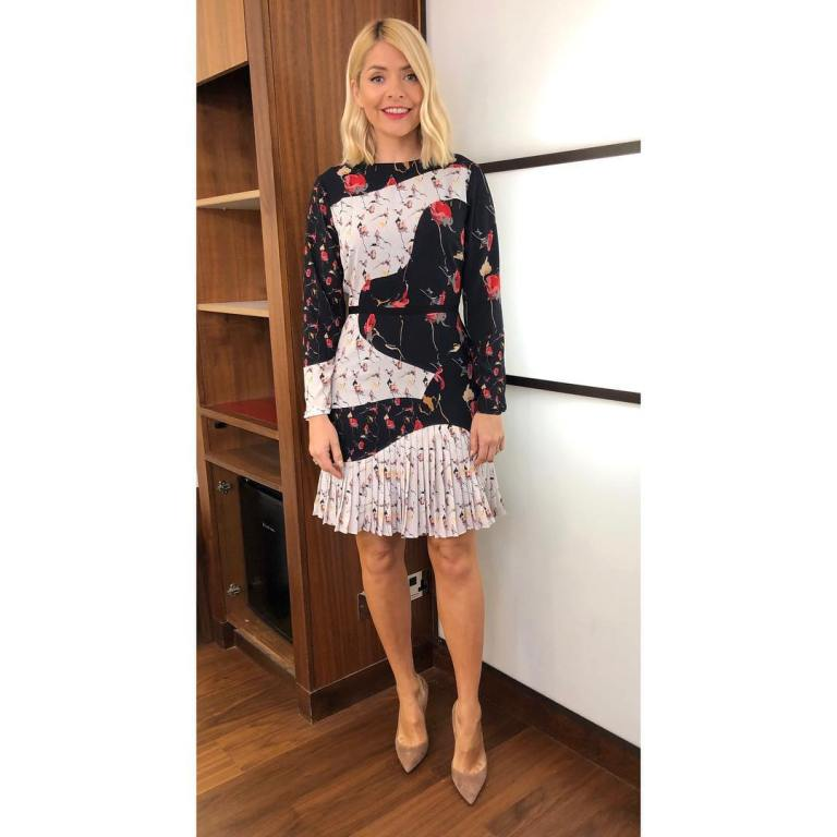where to get Holly Willoughby This Morning outfit today black and white floral dress nude cout shoes MArch 2019 photo Holly Willoughby