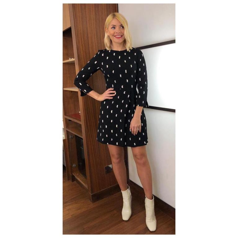 where to get Holly Willoughby This Morning outfit today black and white mini dress white ankle boots MArch 2019 photo Holly Willoughby