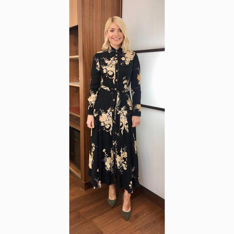 where to get holly Willoughby This Morning outfit today black floral print dress khaki court shoes MArch 2019 photo Holly Willoughby