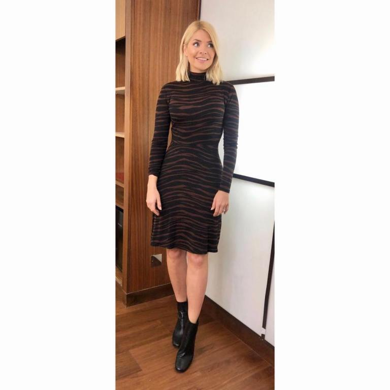 where to get Holly Willoughby This Morning outfit today black tiger stripe dress black ankle boots MArch 2019 photo Holly Willoughby
