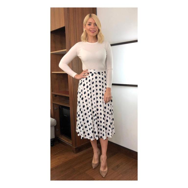 where to get Holly Willoughby This Morning outfit today ivory satin spot skirt ivory knit nude court shoes MArch 2019 photo Holly Willoughby