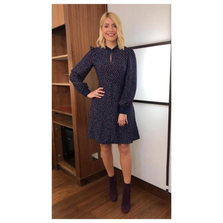 where to get Holly Willoughby This Morning outfit today navy lip print dress purple ankle boots AMrch 2019 photo Holly Willoughby