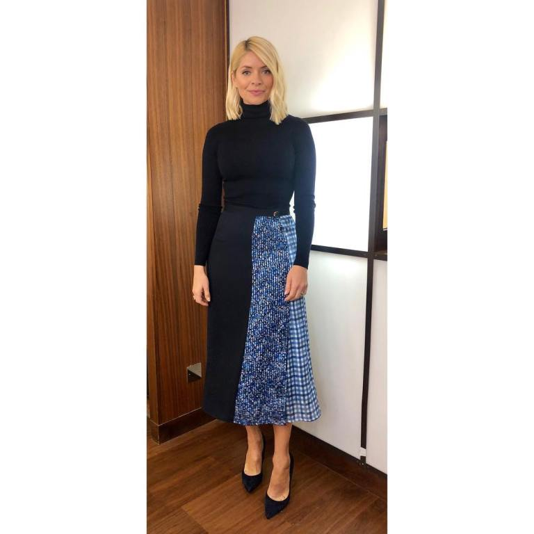 where to get holly Willoughby This Morning outfit today patchwork print skirt navy polo neck black suede court shoes MArch 2019 photo Holly Willoughby