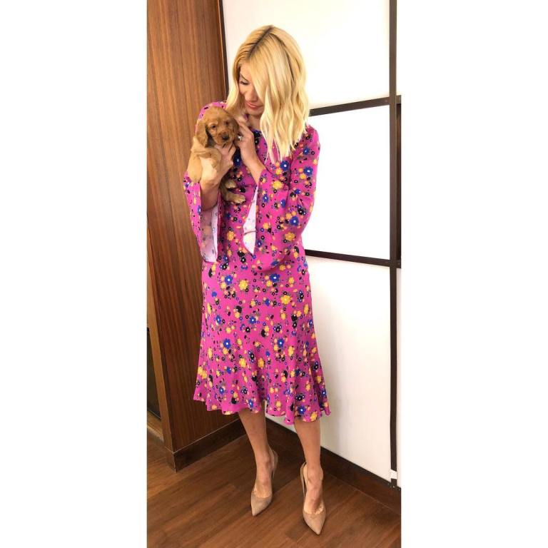 Where to get Holly Willoughby This Morning outfit today pink floral dress trumpet sleeve nude court shoes MArch 2019 photo Holly Willoughby