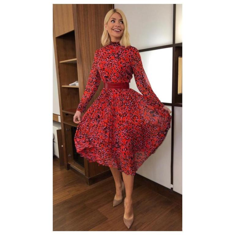 where to get Holly Willoughby This Morning outfit today red leopard print dress nude court shoes MArch 2019 photo Holly Willoughby