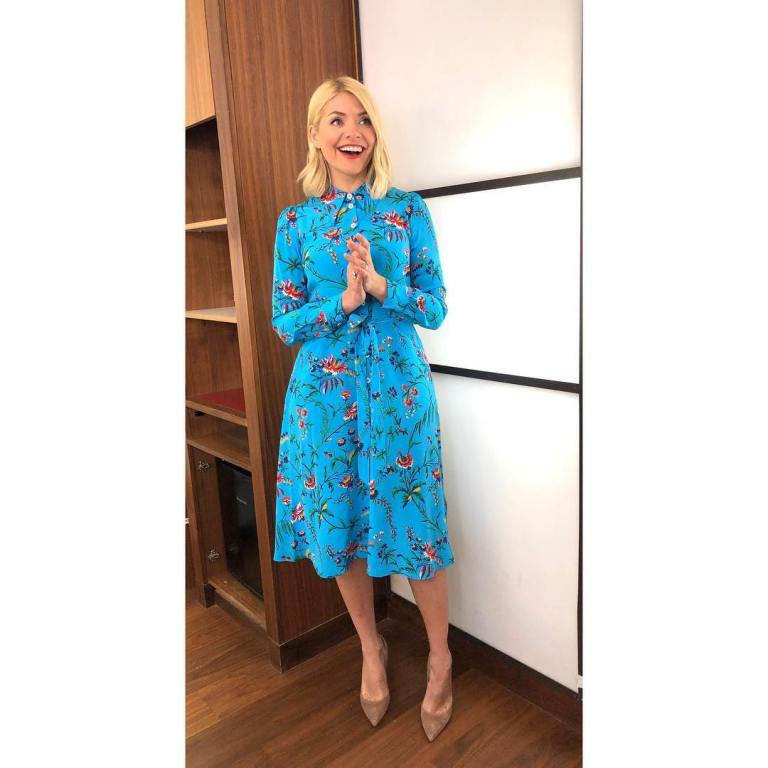 where to get Holly willoughby This Mornng outfit today blue floral dress nude court shoes MArch 2019 photo Holly Willoughby