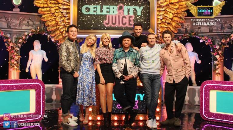 where to get holy Wiloughby Celebrity Juice outfit floral blouse black mini skirt MArch 2019 photo Celebrity Juice