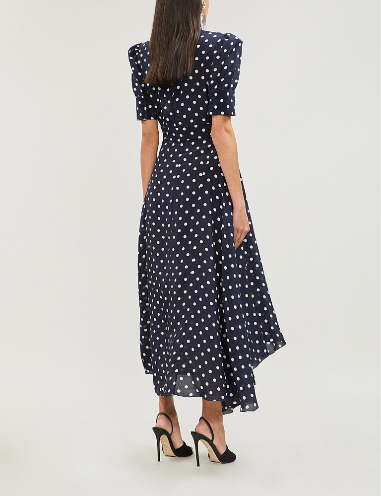 Alessandra Rich Embellished polka dot silk-chiffon midi dress back view