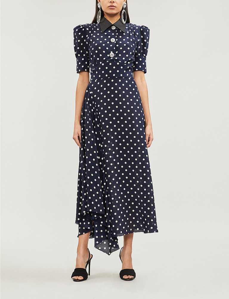 Alessandra Rich Embellished polka dot silk-chiffon midi dress