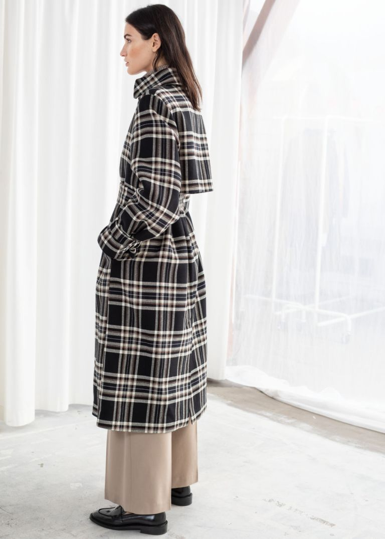 And other stories Belted Plaid Trench Coat back view