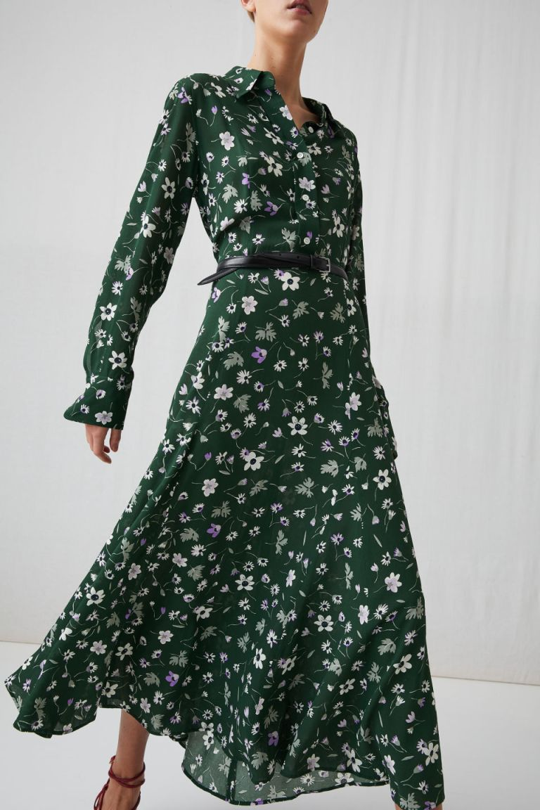 Arket floral crepe dress green