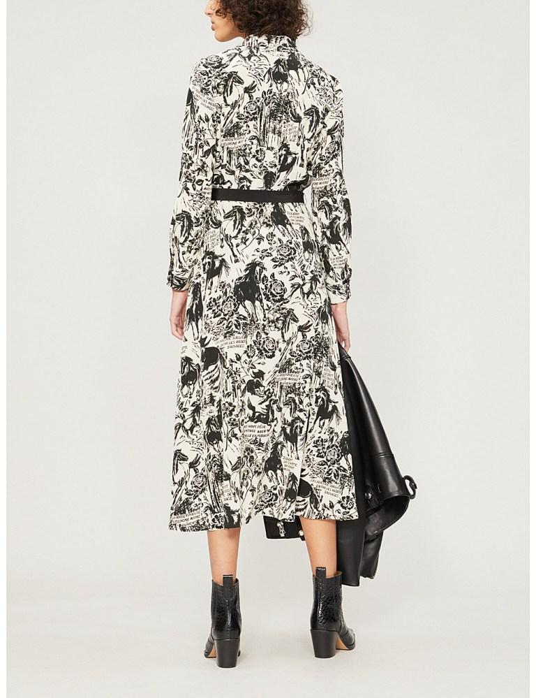 Claudie Pierlot Riviera graphic print silk-crepe dress back view