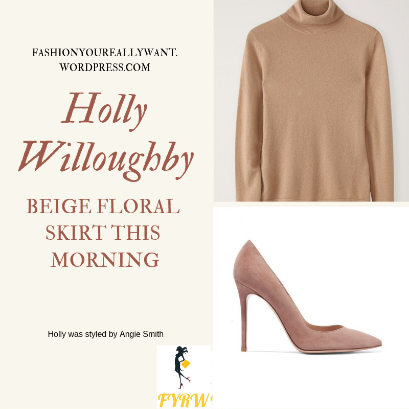 Where to get Holly Willoughby  This Morning outfit today beige floral pleated skirt camel polo neck nude suede court shoes blog April 2019