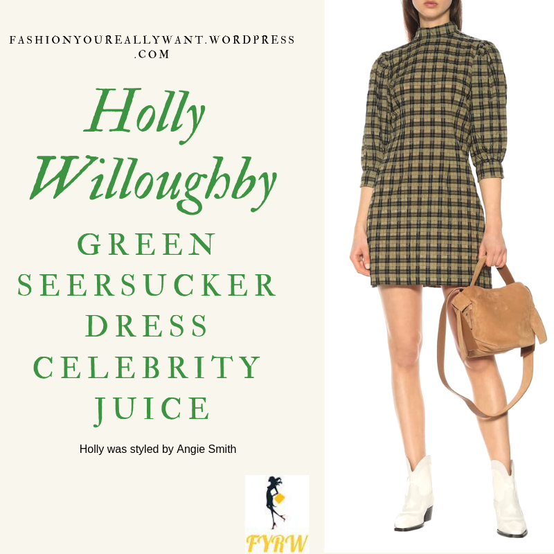 Where to get Holly Willoughby Green Seersucker Dress black biker boots Celebrity Juice blog April 2019