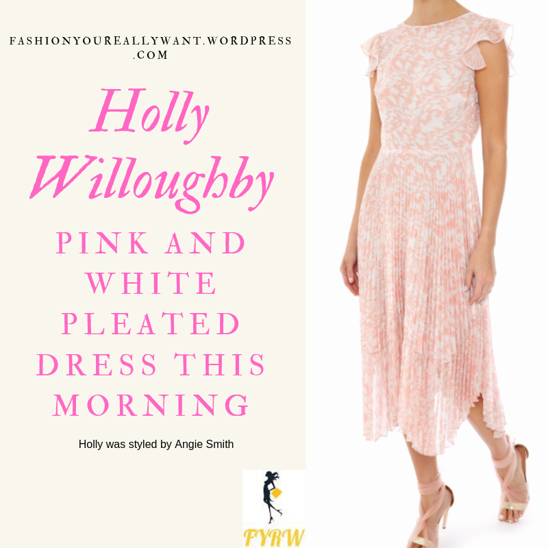 Where to get Holly Willoughby This Morning outfit today Pink and white pleated dress cut out strappy court shoes in ecru blog April 2019