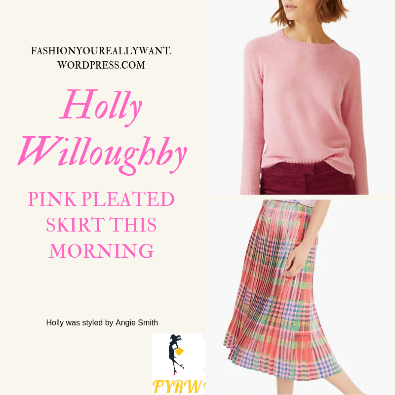 Where to get Holly Willoughby  This Morning outfit today Pink Pleated Skirt pink knit beige suede court shoes blog April 2019