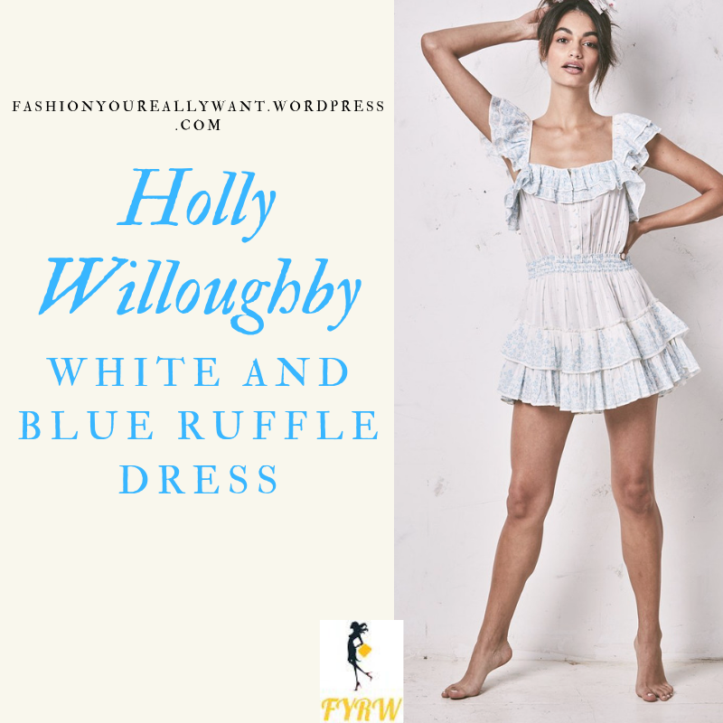 Where to get Holly WilloughbyWhite and Blue Ruffle Dress Maldives BLOG April 2019