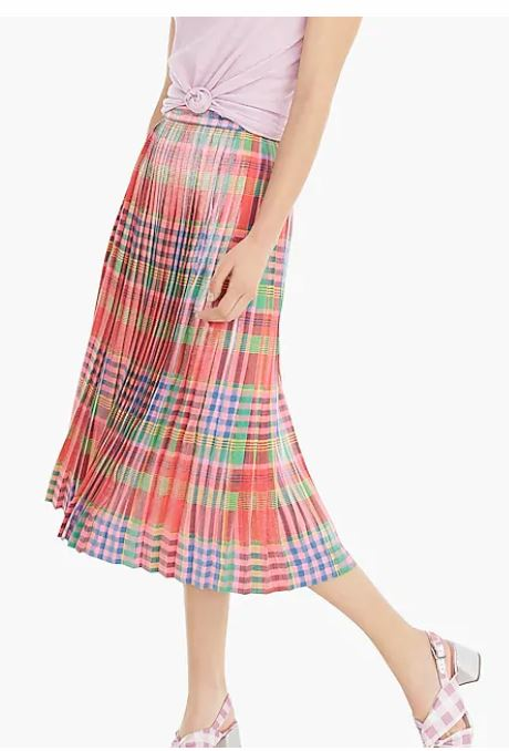 J Crew Pleated Midi skirt in Shimmering Plaid