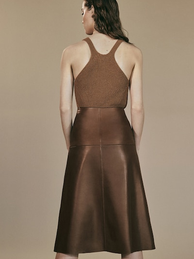Massimo Dutto Limited Edition Topstitched Nappa Skirt back view