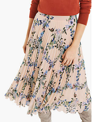 Oasis Floral Pleated Midi Skirt, Multi