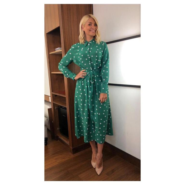 where to get Holly Willoughby This Morning outfit dress today green polka dot shirt dress nude suede court shoes April 2019 photo Holly Willoughby