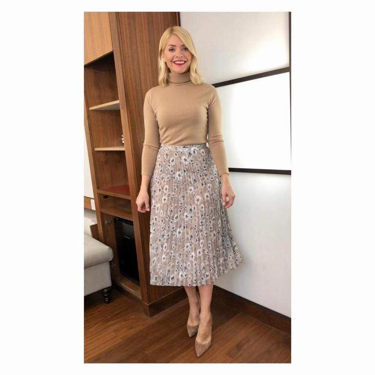 where to get Holly Willoughby This Morning outfit today beige floral skirt camel polo neck knit suede court shoes April 2019 photo Holly Willoughby