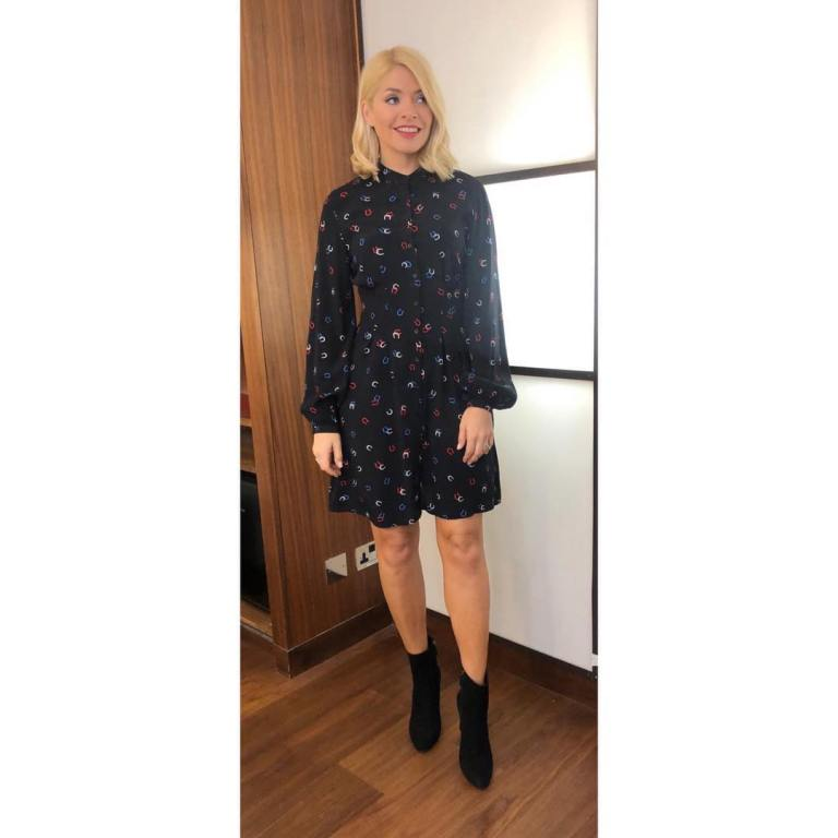 where to get Holly Willoughby This Morning outfit today black horseshoe print dress black ankle boots April 2019 photo Holly Willoughby
