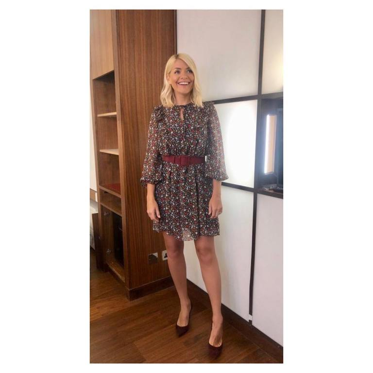 where to get holly willoughby This Morning outfit today blue brown ditsy print dress wine court shoes April 2019 photo Holly Willoughby