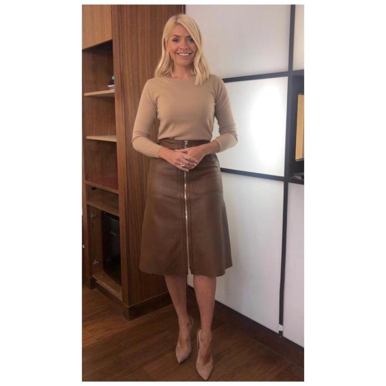 where to get Holly Willoughby This Morning outfit today brown zip leather skirt light brown knit nude court shoes April 2019 photo Holly willoughby