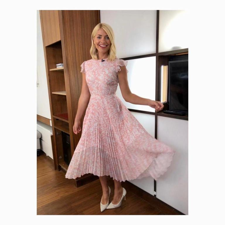 where to get holly Willoughby This Morning outfit today pink and white pleated dress white cut out shoes April 2019 photo Holly Willoughby