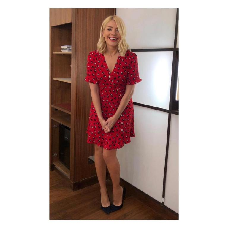 where to get Holly Willoughby this Morning outfit today red boat print tea dress black suede court shoes April 2019 photo Holly Willoughby